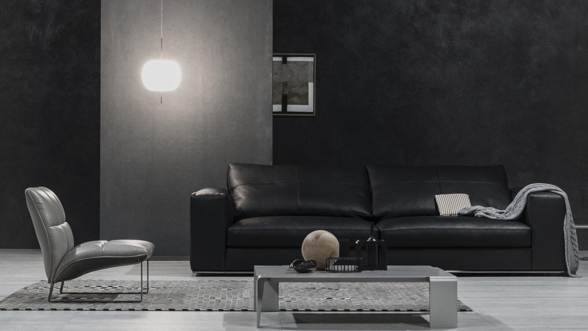 Cierre dolcevita leder sofa schwarz