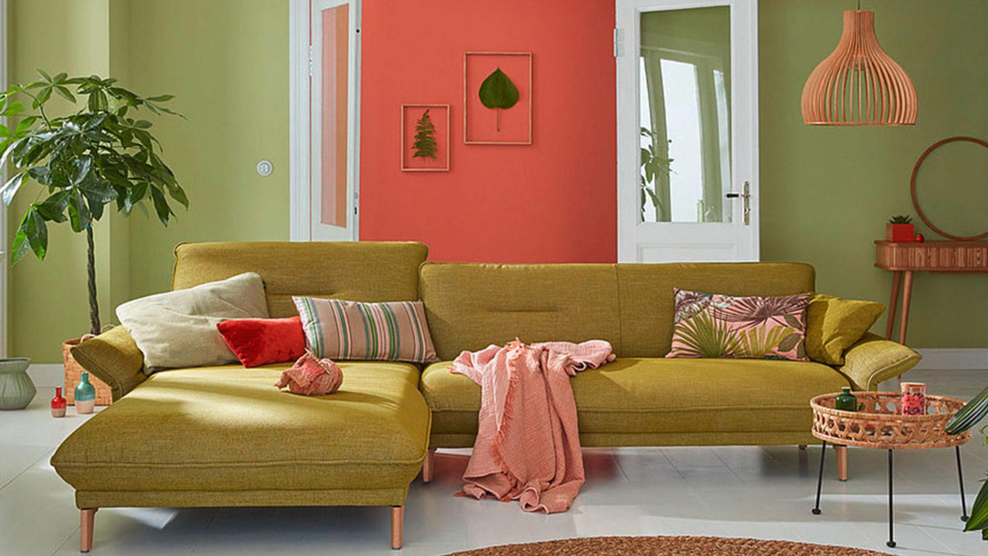 Hülsta Sofa in gelb grün
