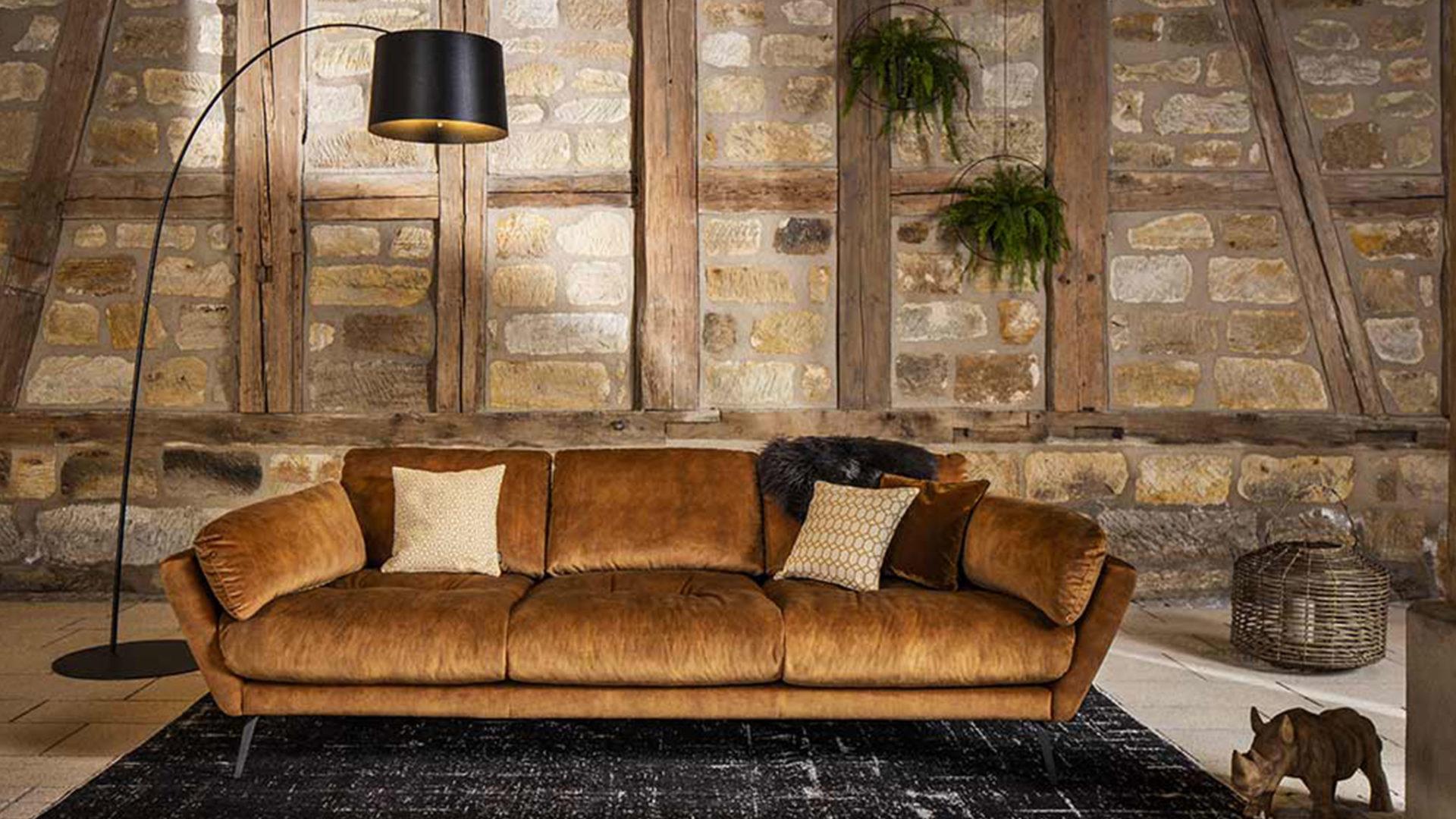 W. Schillig Art Deco Sofa Softy in Gold