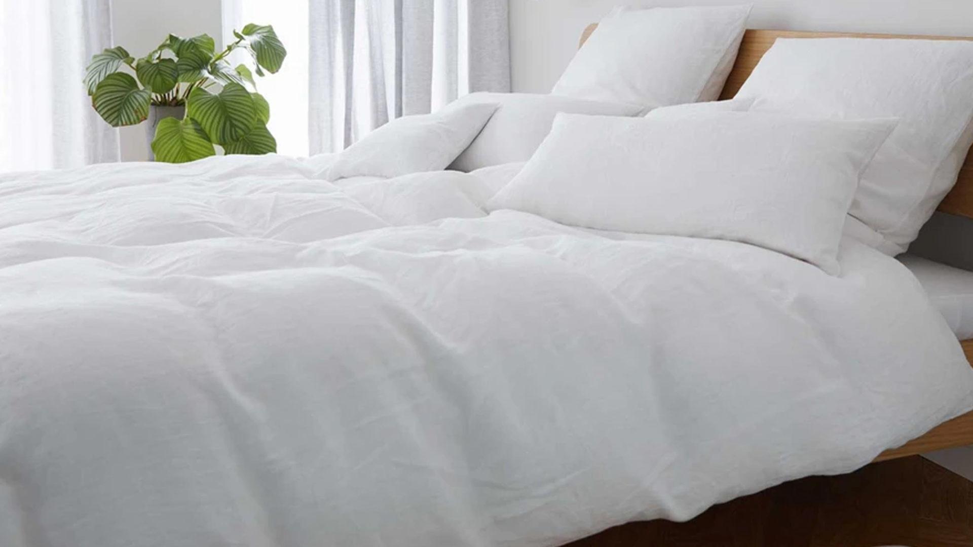 weiße leinen bettwäsche von elegante